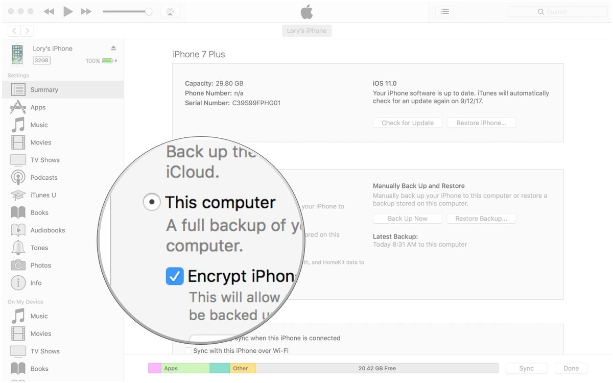Tick the box for Encrypt Backup, and enable iTunes backup